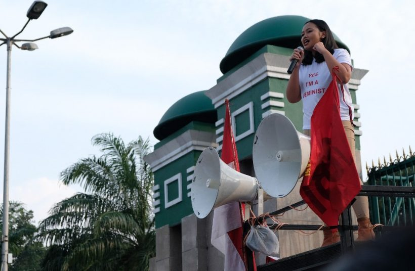 "Anindya ""Vivi"" Restuviani while protesting against the criminal code revision bill on February 12, 2018"
