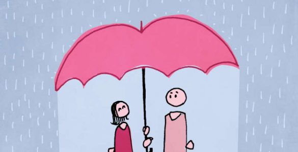 Sharing an umbrella in the rain