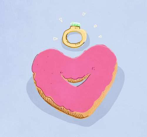 Rings and heart-shaped donuts.