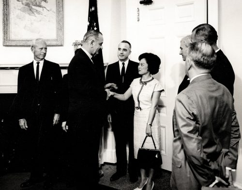 Congresswoman Patsy Mink shakes hands withe President Lyndon Johnson