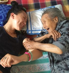 The director, Tiffany Hsiung, with Grandma Adela