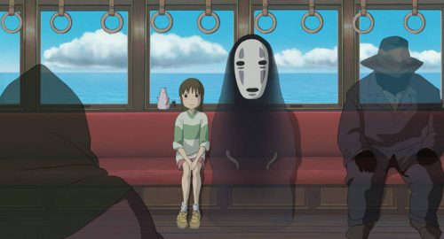 No Face and Chihiro on the train.